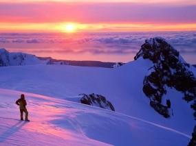 Обои Змний пейзаж в сиреневых тонах: Облака, Зима, Горы, Закат, Новая Зеландия, Зима