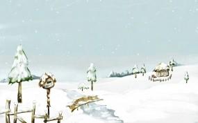 Обои Beautiful Snow Scenery: Зима, Снег, Мост, Речка, Домик, Зима