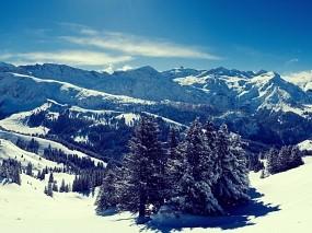 Обои Заснеженные вершины: Зима, Горы, Зима