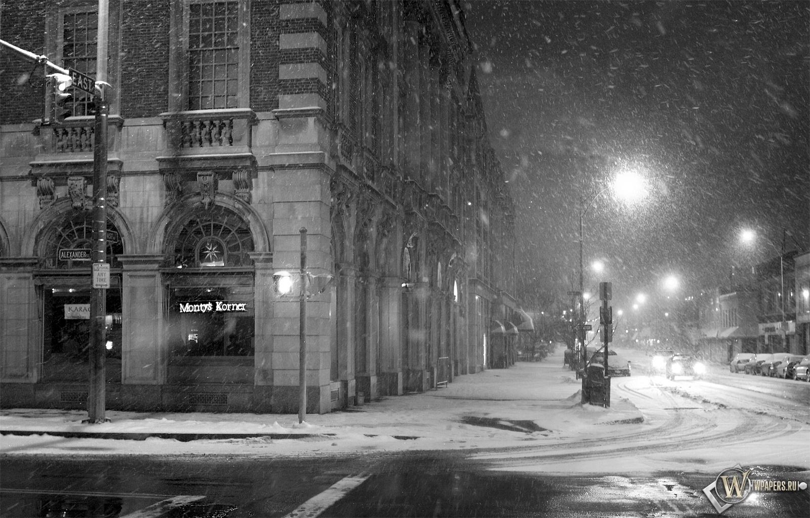 Чёрно-белый снег 1600x1024