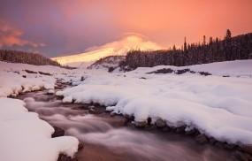 Обои Зимний ручей: Зима, Снег, Ручей, Зима