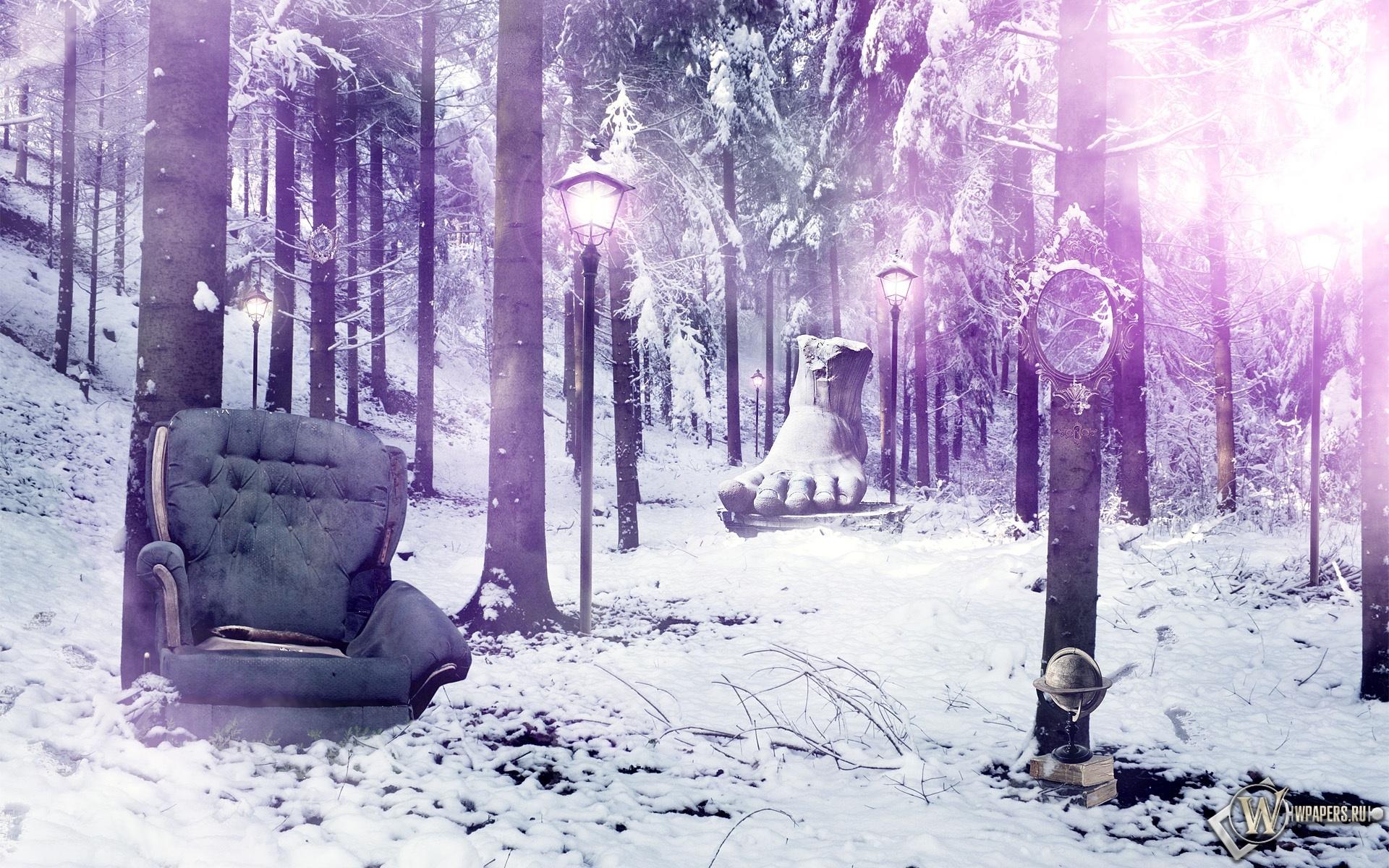 Кресло в лесу 1920x1200