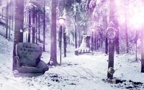 Обои Кресло в лесу: Зима, Лес, Деревья, Кресло, Зима