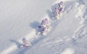 Обои Мишки на снегу: Зима, Снег, Сугробы, мишки, Зима