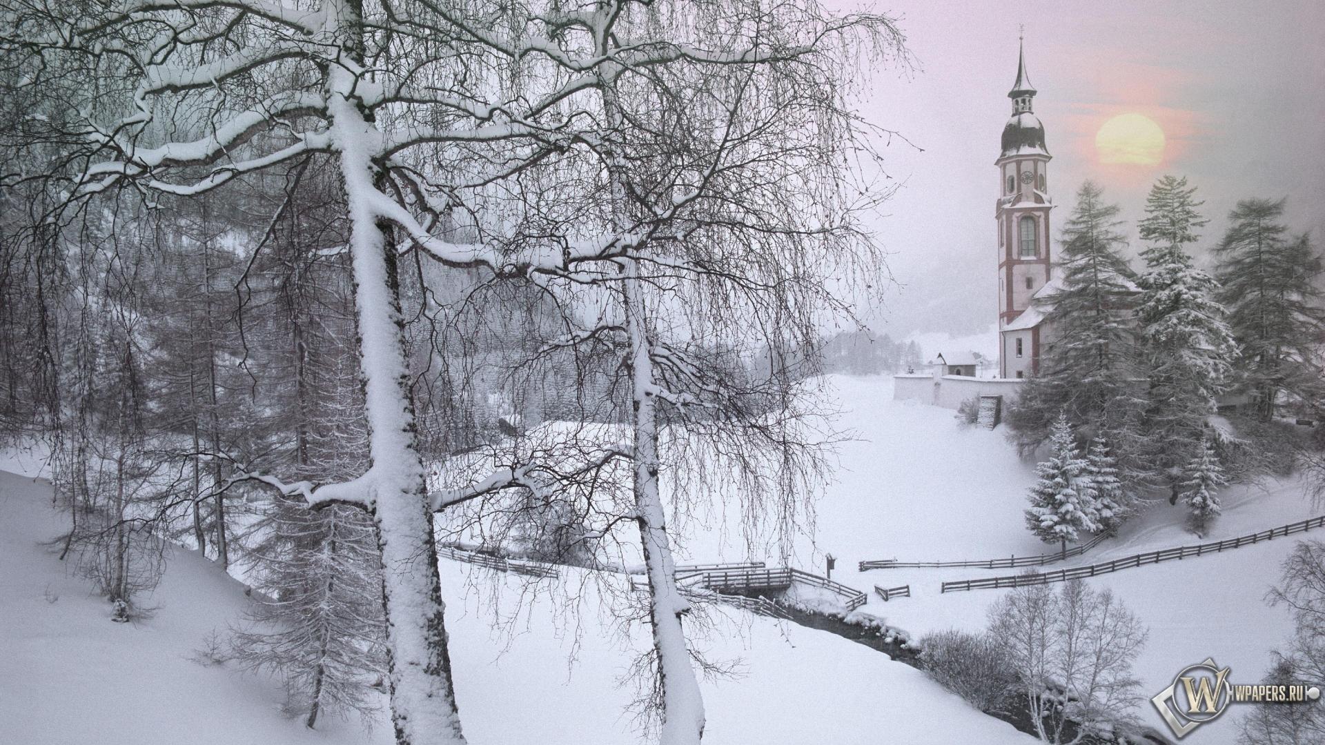 Зима в Тироле Австрия 1920x1080