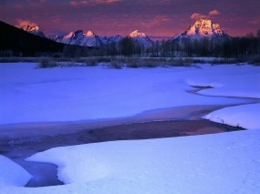Обои Winter Sunrise: Зима, Горы, Снег, Ручей, Зима