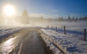 Обои Зимний рассвет: Зима, Солнце, Рассвет, Зима