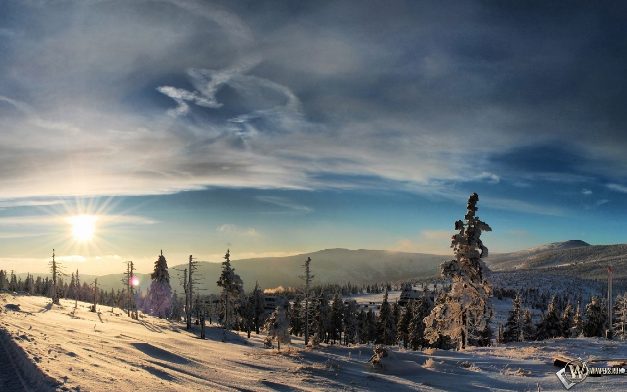 Зимний вечер  Фото мир природы