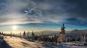 Обои Зимний вечер: Снег, Закат, Небо, Зима