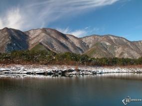 Обои Заснеженный берег реки: , Зима