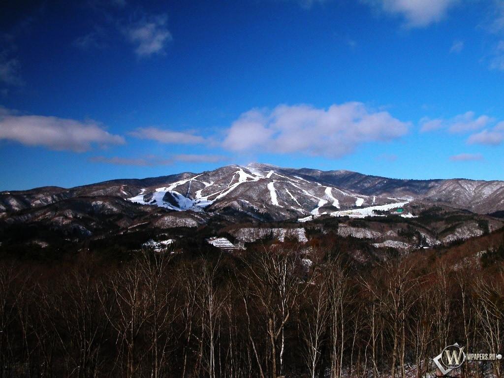 Снежные горы в дали 1024x768