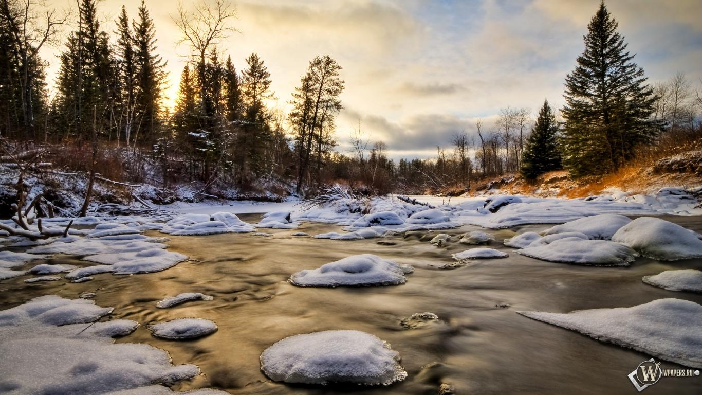 Скачать обои зимний ручей зима вода