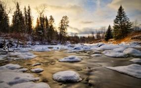 Обои Зимний ручей: Зима, Вода, Лёд, Снег, Деревья, Зима