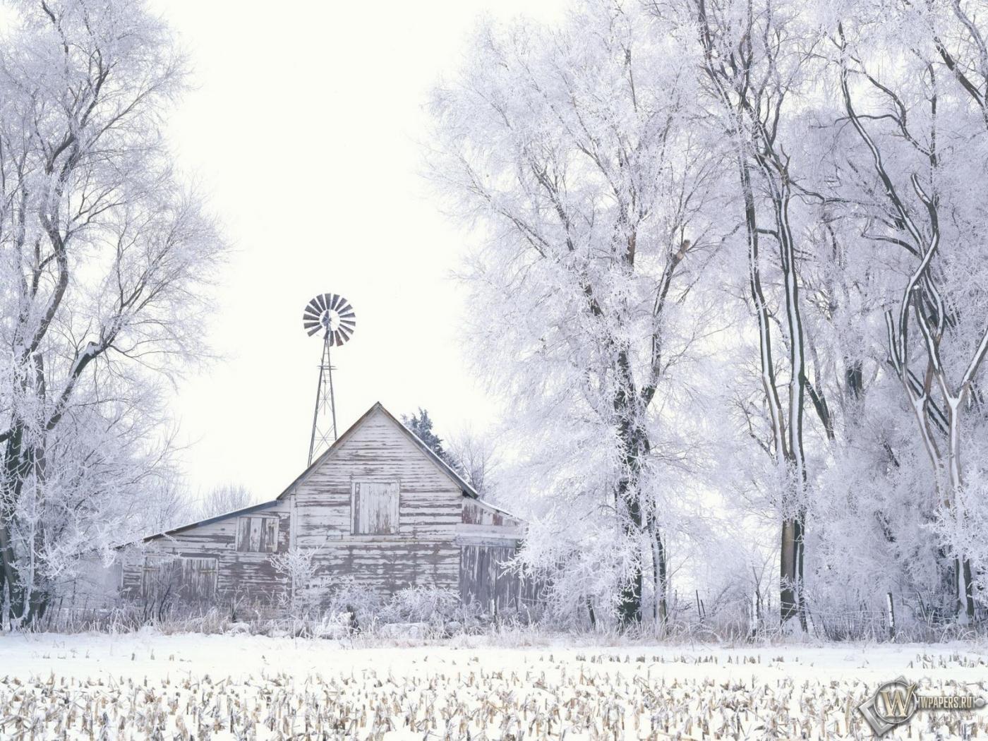Обои домик в лесу зима снег деревья