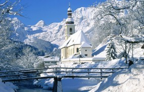 Обои Часовня зимой: Зима, Горы, Снег, Часовня, Зима