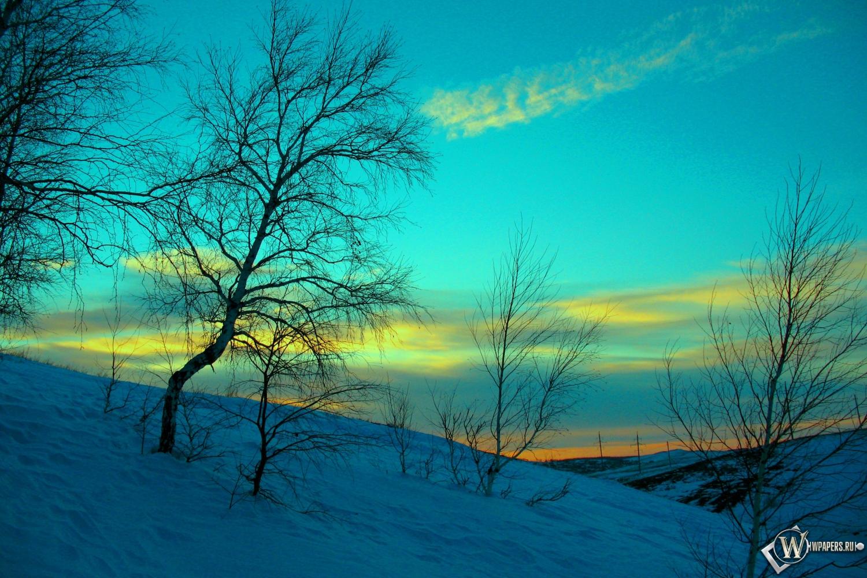 Обои март зима снег вечер небо