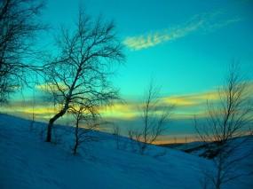Обои Март: Зима, Снег, Вечер, Небо, Мороз, Март, Казахстан, Зима