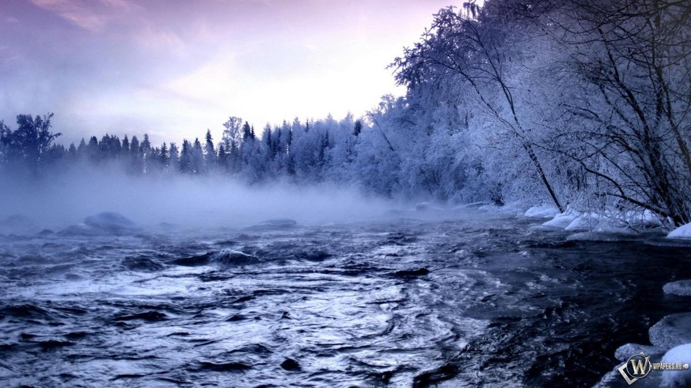 Зимняя речка 1366x768