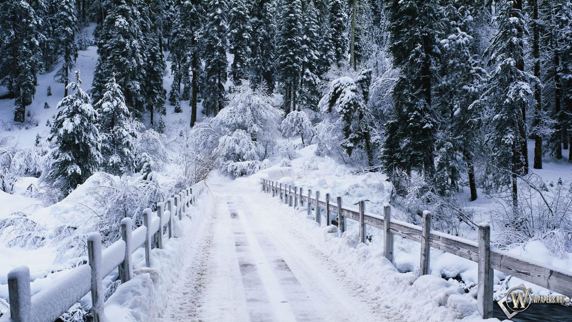 Snowy bridge 1920x1080