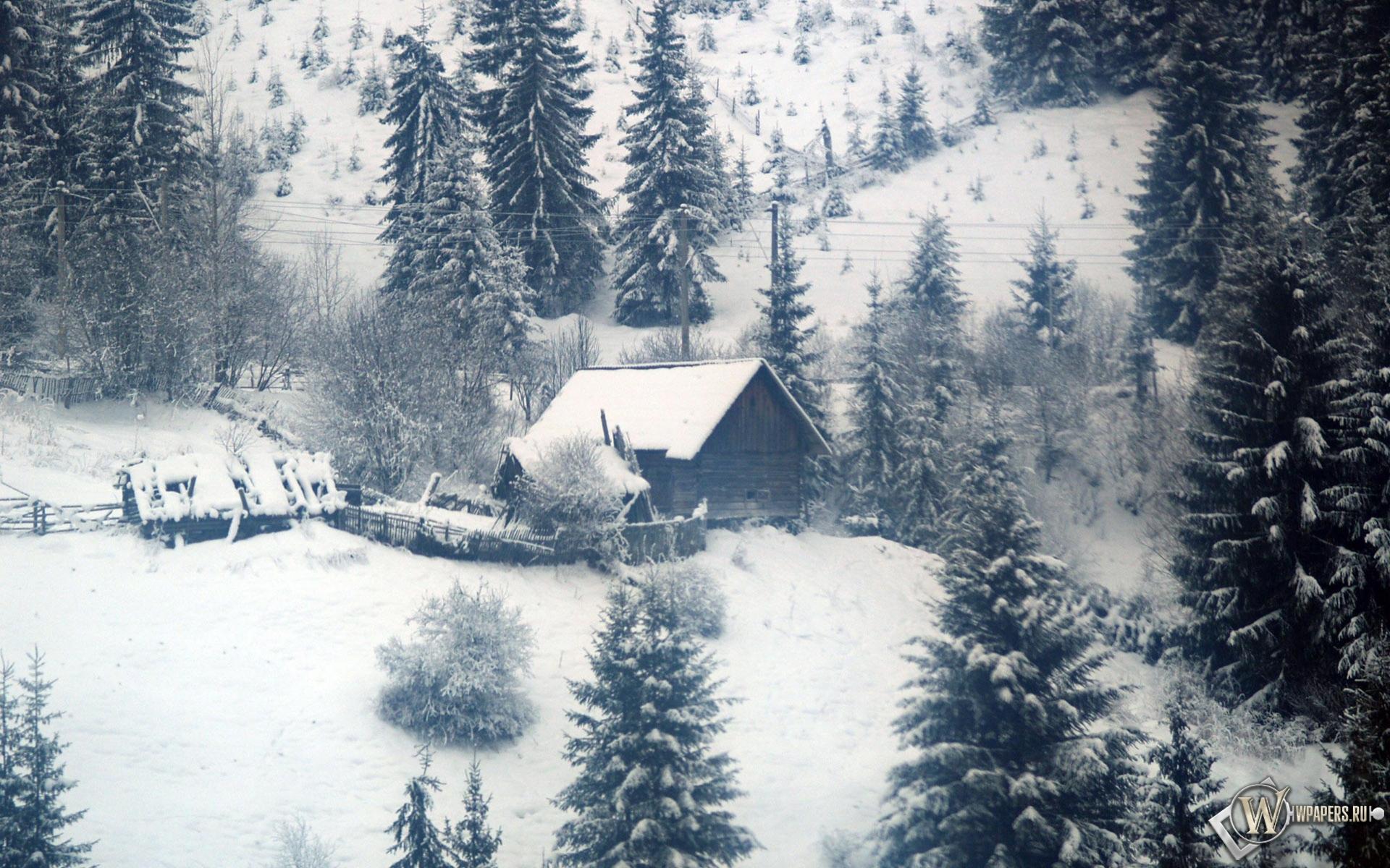 Домик в зимнем лесу на рабочий стол с