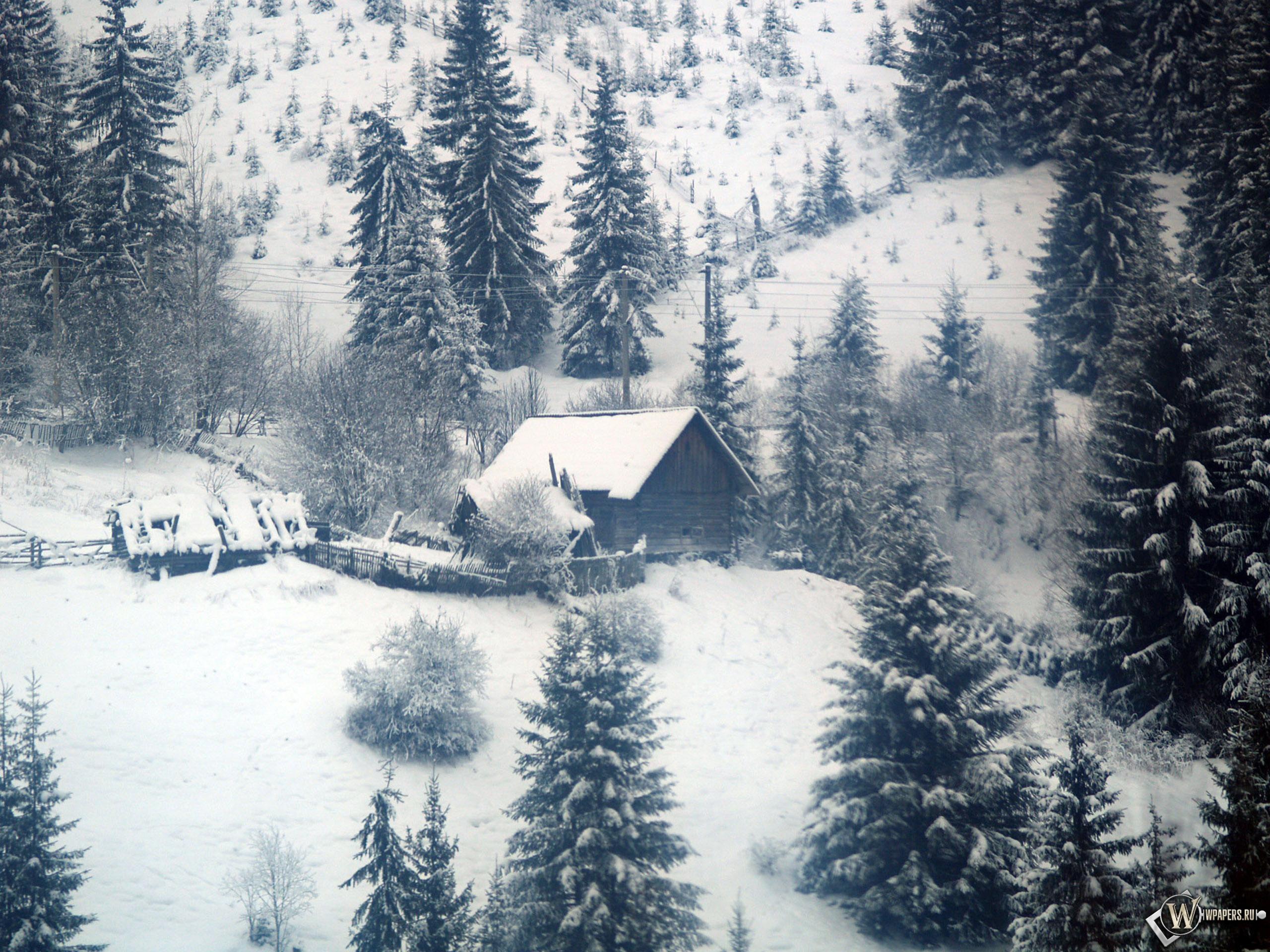 Домик в зимнем лесу 2560x1920
