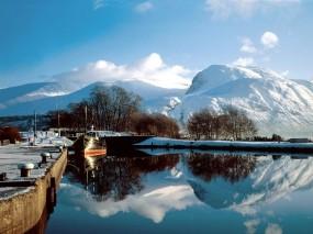 Обои Зимнее озеро: Зима, Снег, Озеро, Зима