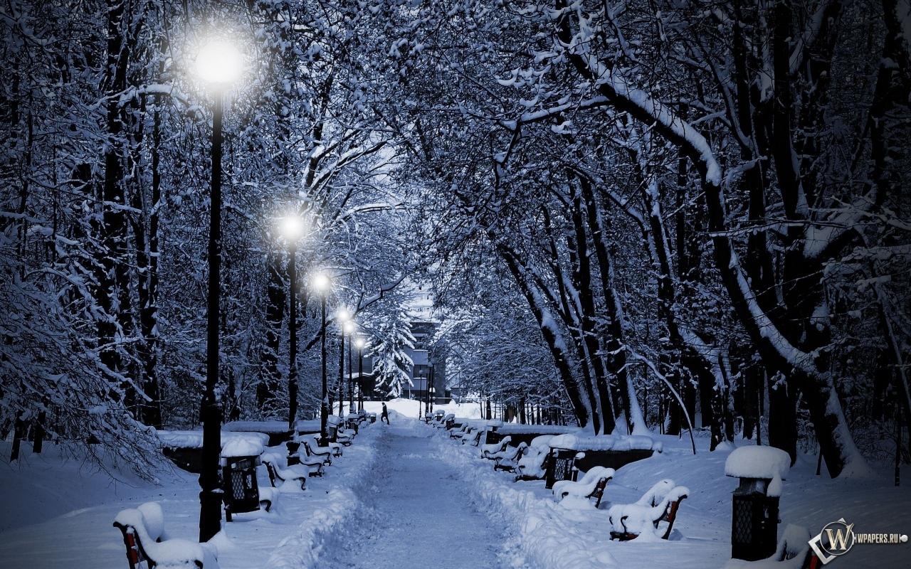 Обои аллея зимой фонари зима снег