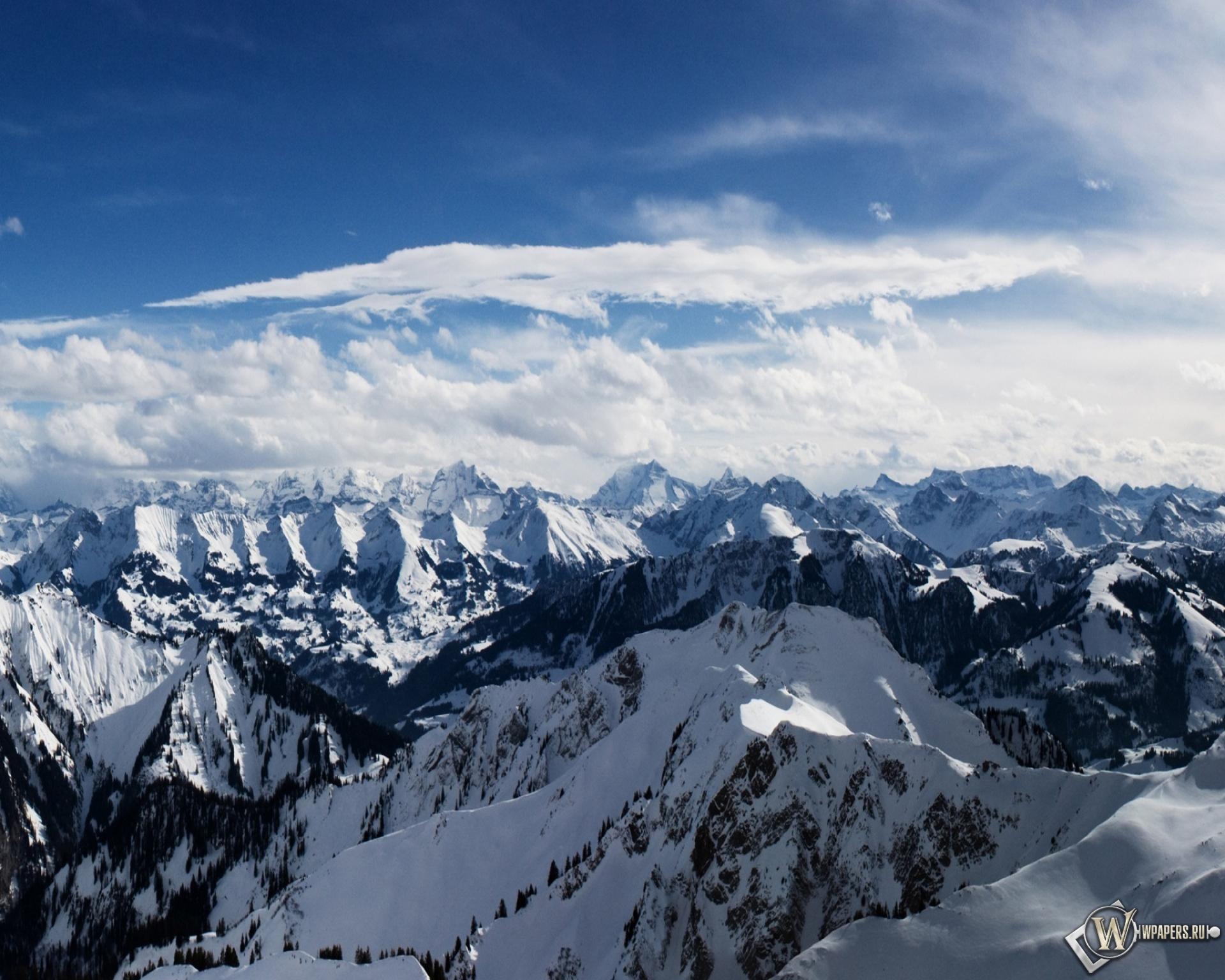 Горы облака горы свет снег