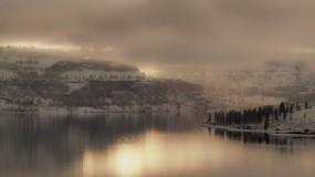 Обои Зимний пейзаж: Река, Горы, Природа, Туман, Зимний пейзаж, Зима