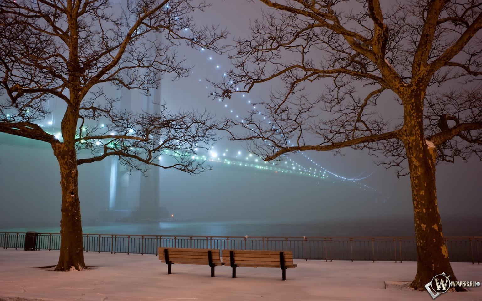 Парк вечером огни зима снег деревья
