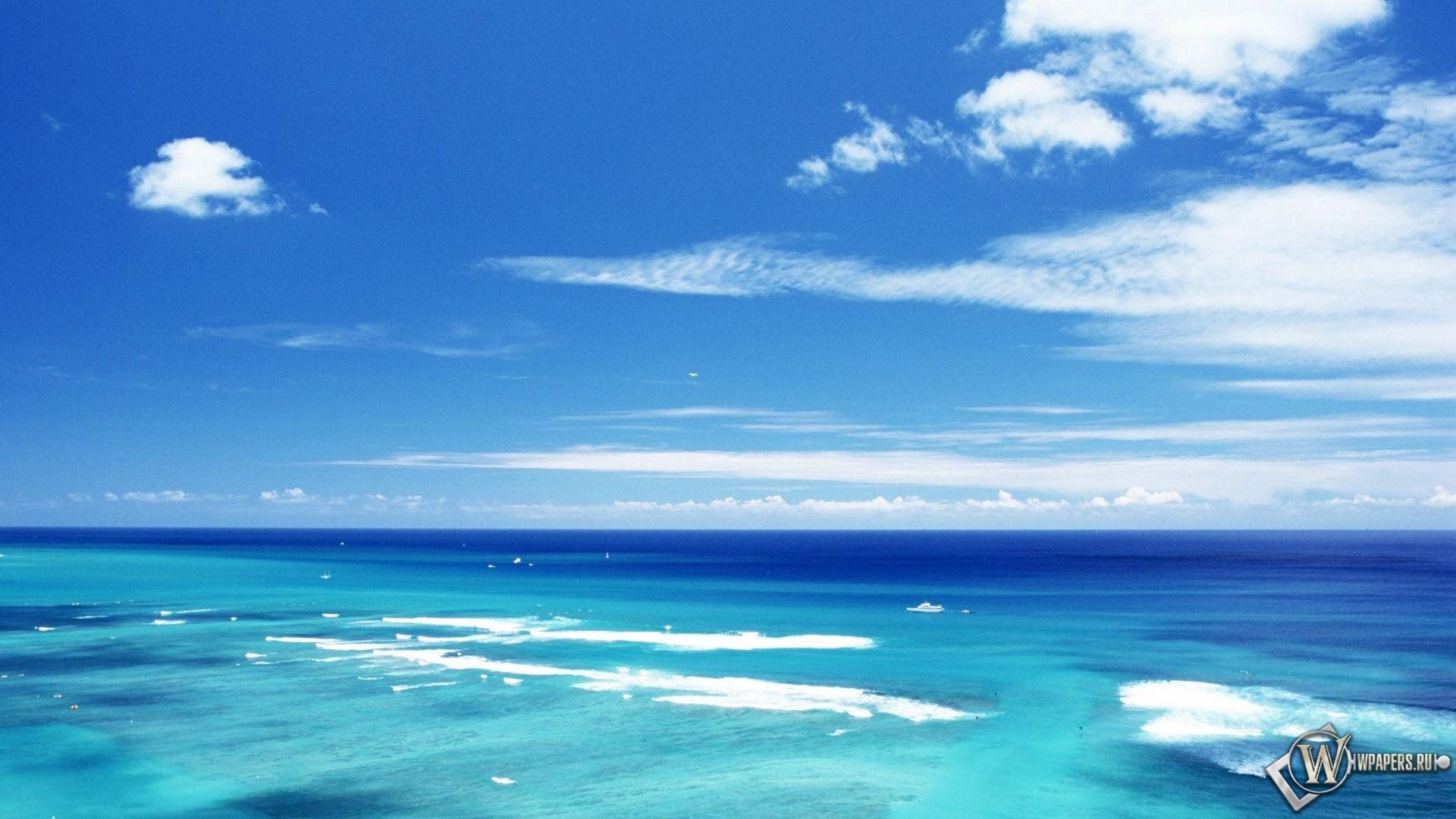 Обои море и небо облака море небо