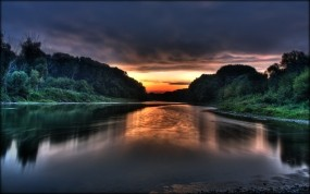 Обои Красивый закат солнца: Вода, Закат, Вечер, Небо, Вода и небо