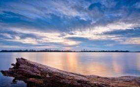 Обои Озеро Иллинойс: Облака, Вода, Закат, Озеро, Небо, Вода и небо