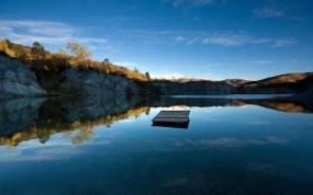 Обои Blue lake jetty: Озеро, Небо, Новая Зеландия, Вода и небо