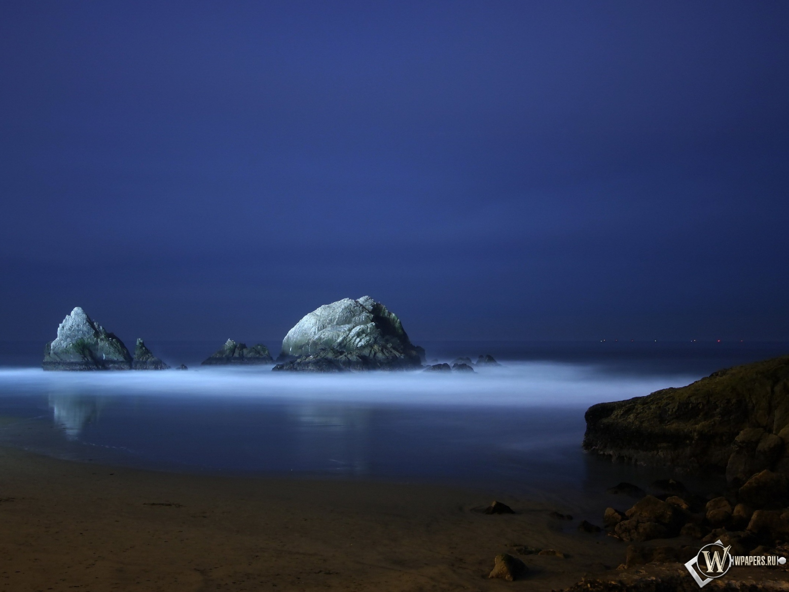 Обои ночной океан море ночь скалы