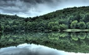 Обои Лес у озера: Отражение, Вода, Лес, Вода и небо