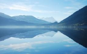 Обои Горная река: Река, Горы, Небо, Пейзаж, Вода и небо