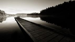 Обои Деревянный мост: Вода, Мост, Вечер, Небо, Вода и небо