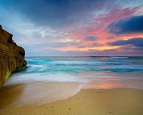 Обои Прилив: Море, Закат, Берег, Вода и небо