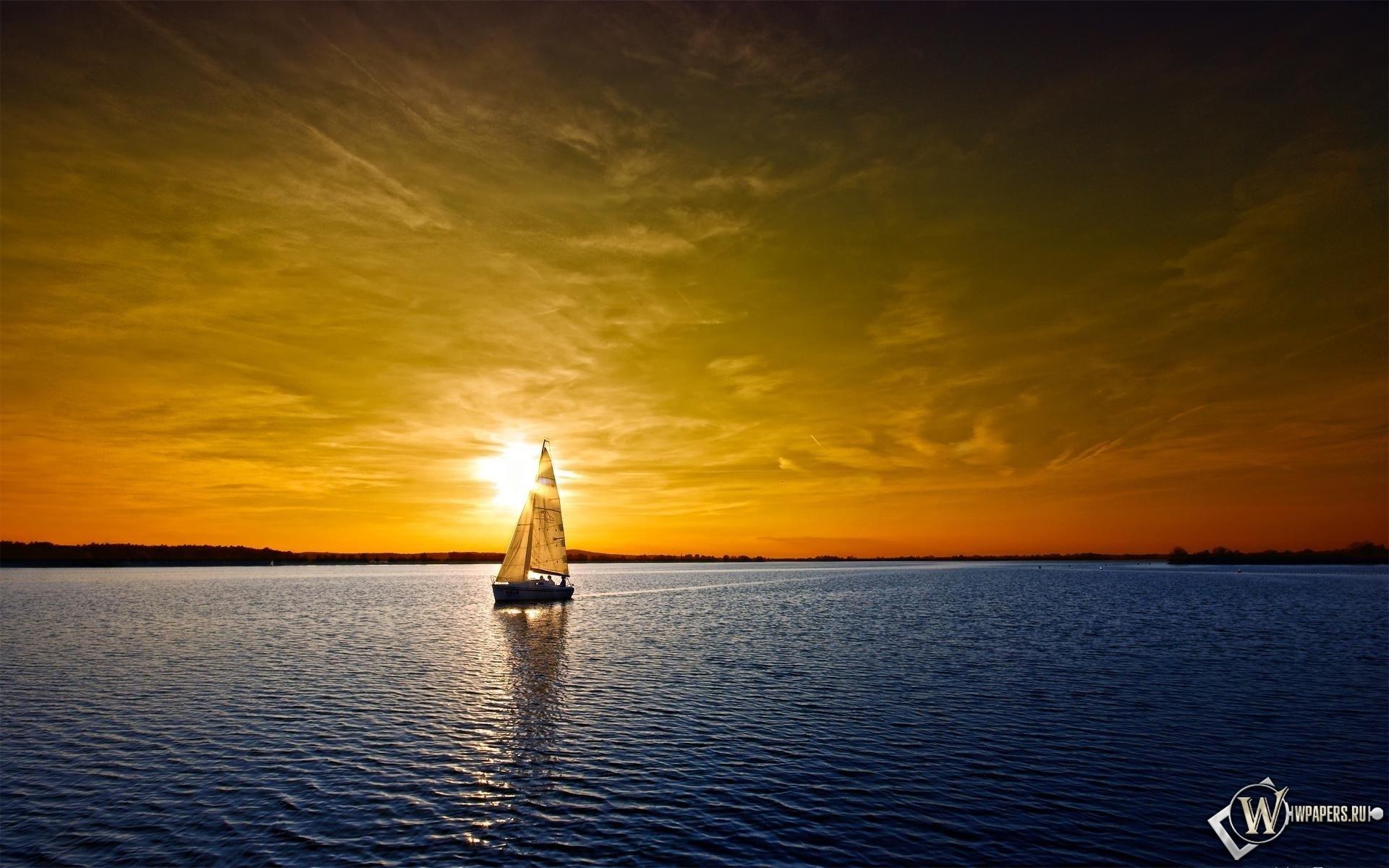 Яхта на закате 1920x1200