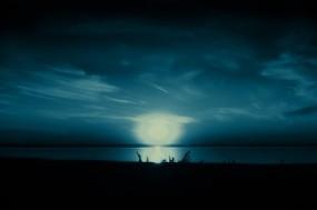 Обои Полнолуние: Вода, Природа, Ночь, Озеро, Небо, Вода и небо