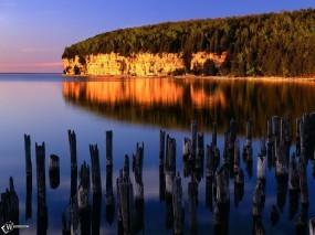 Обои Сгоревший лес в воде: , Вода и небо