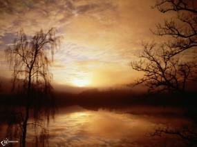 Обои Закат на болоте: , Вода и небо