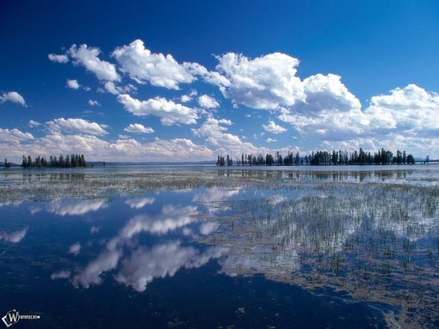 Голубое небо в воде