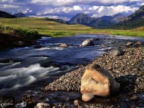Обои Ручеек в горах: , Вода и небо