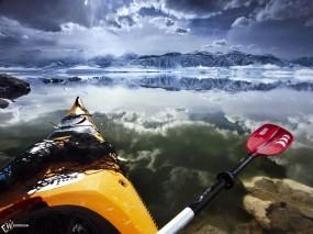 Обои Сплав на ледниках: , Вода и небо