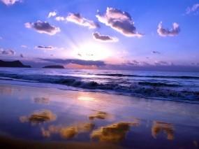 Обои Море: Облака, Море, Лучи солнца, Небо, Вода и небо