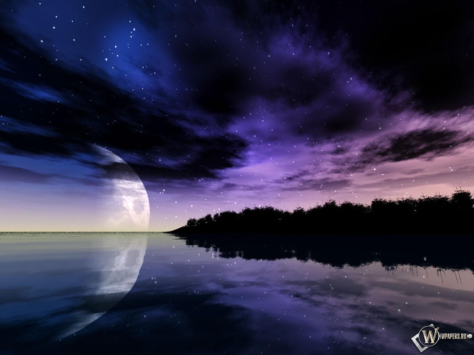 Обои небо и луна море ночь луна небо