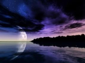 Обои Небо и луна: Море, Ночь, Луна, Небо, Вода и небо
