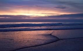 Обои Морской закат: Облака, Свет, Волны, Море, Природа